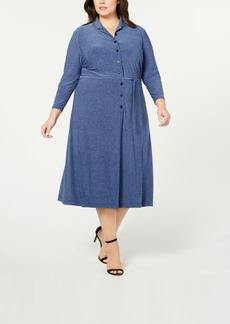 Anne Klein Plus Size Printed Button-Front Shirtdress