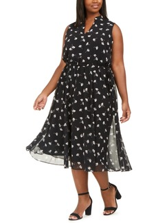 Anne Klein Plus Size Printed Drawstring A-Line Dress