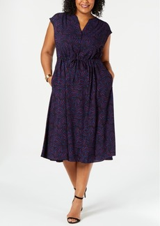 Anne Klein Plus Size Printed Drawstring Midi Dress