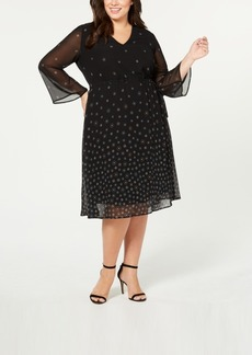 Anne Klein Plus Size Printed Elastic-Waist A-Line Dress