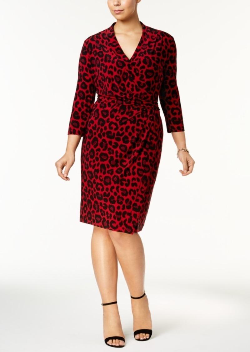 Anne Klein Anne Klein Plus Size Printed Faux-Wrap Dress | Dresses