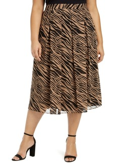 Anne Klein Plus Size Printed Pleated A-Line Skirt
