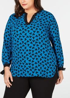 Anne Klein Plus Size Printed Split-Neck Top