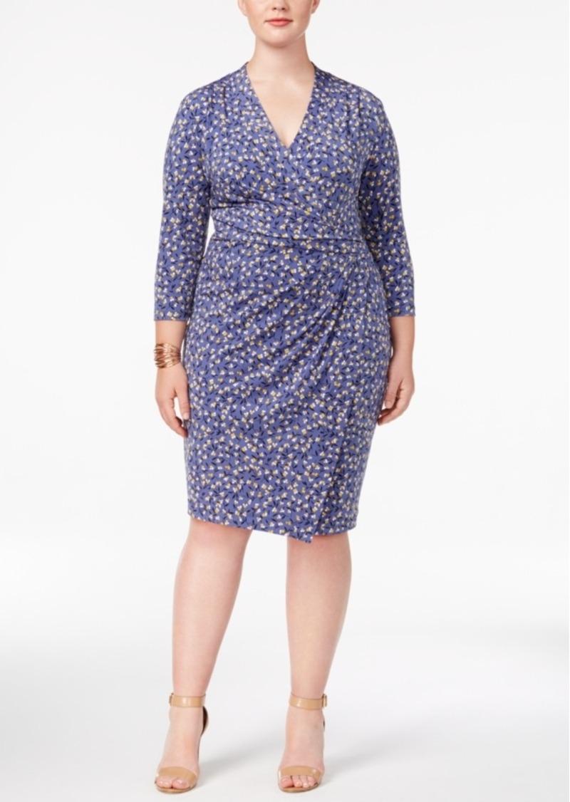 db6fa2c8ceb Anne Klein Anne Klein Plus Size Printed Wrap Dress