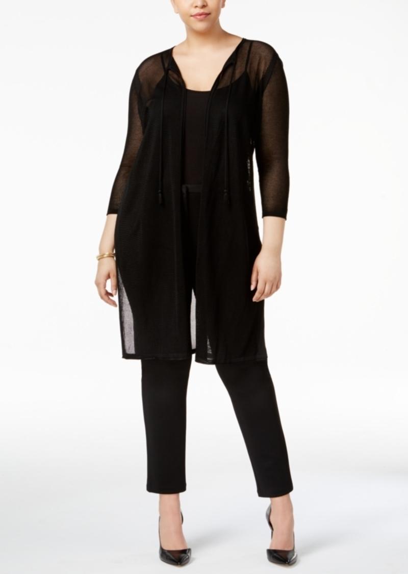 Anne Klein Anne Klein Plus Size Sheer-Knit Duster Cardigan ...