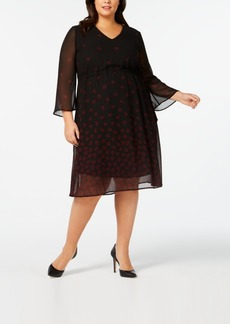Anne Klein Plus Size Sheer Lined Printed Dress