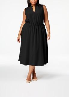 Anne Klein Plus Size Split-Neck Flared Midi Dress