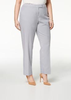 Anne Klein Plus Size Straight-Leg Striped Ankle Pants