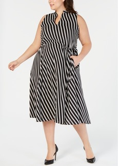 Anne Klein Plus Size Striped Midi Dress