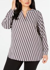 Anne Klein Plus Size Striped Split-Neck Blouse