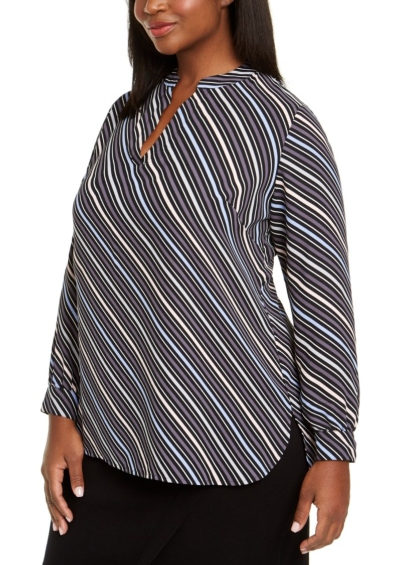 Anne Klein Plus Size Striped Split-Neck Top
