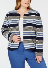 Anne Klein Plus Size Striped Tulip Jacket