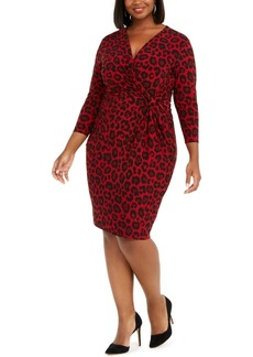 Anne Klein Plus Size Twist-Front Animal Print Dress