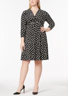 Anne Klein Plus Size Printed Twist-Front Dress