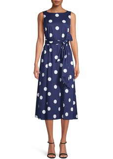 Anne Klein Polka Dot Bateau Neck Midi Dress