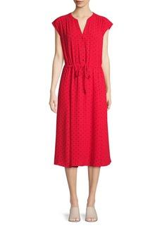 Anne Klein Polka Dot Cap-Sleeve Dress