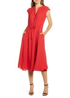 Anne Klein Polka Dot Drawstring Waist Dress