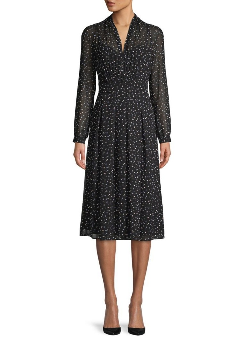 Anne Klein Polka Dot-Print Pleated A-Line Dress