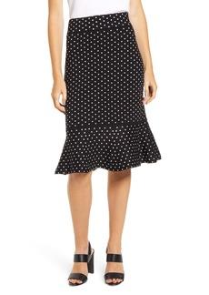 Anne Klein Polka Dot Ruffle Hem Skirt