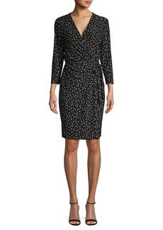 Anne Klein Polka-Dot Wrap-Front Dress