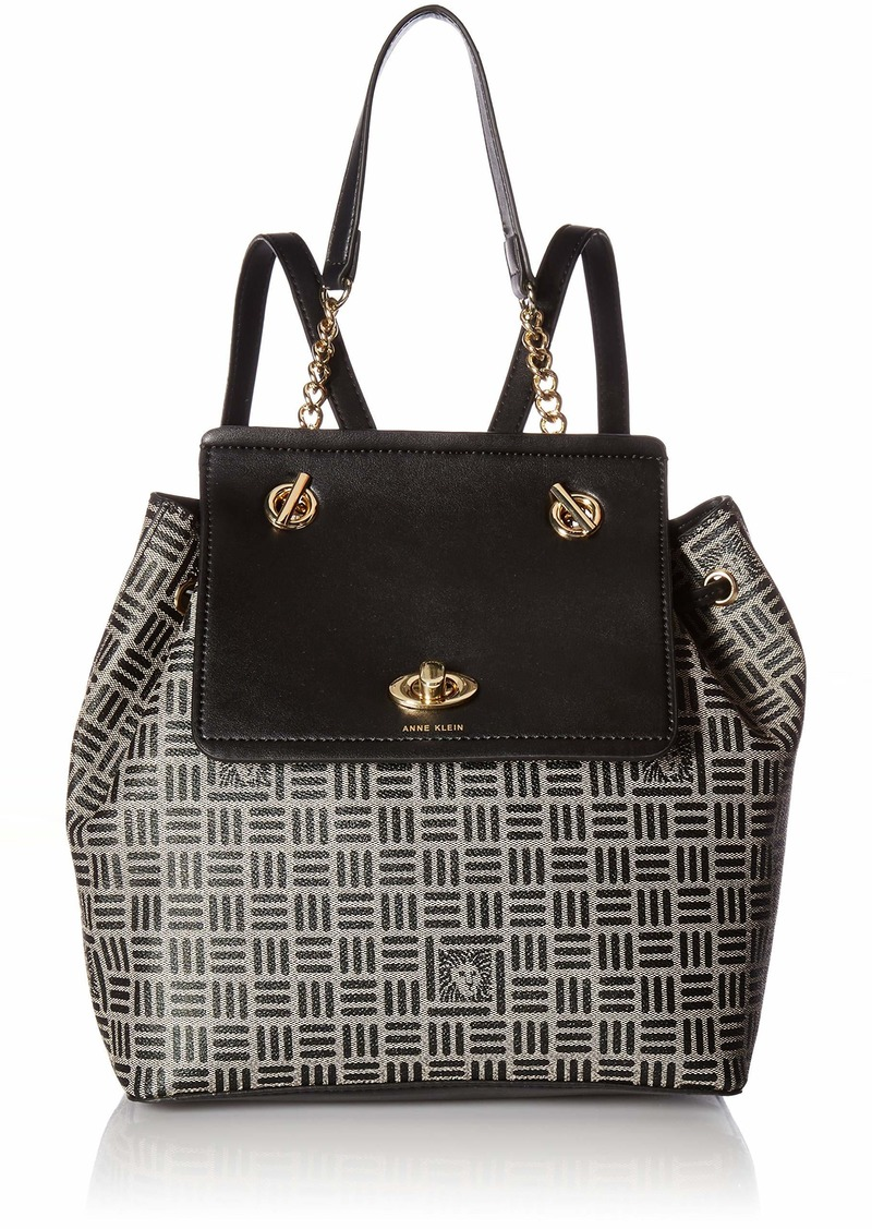 Anne Klein Printed Logo Chain Toggle Backpack