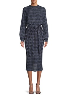 Anne Klein Printed Self-Tie Stretch Midi Dress