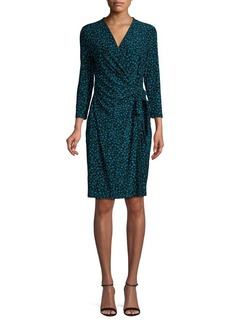 Anne Klein Printed Three-quarter Sleeve Wrap Dress