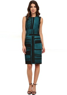 Anne Klein Printed Twill Shift Dress with Collar