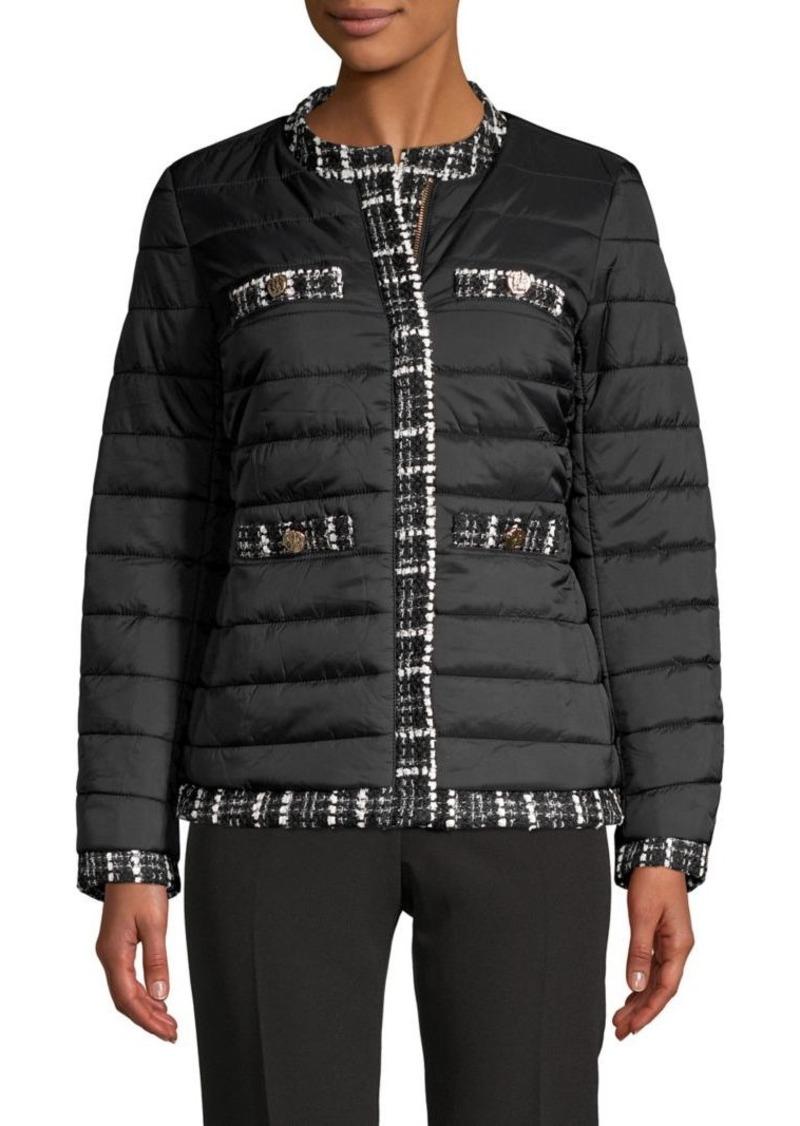 Anne Klein Tweed-Trimmed Puffer Coat