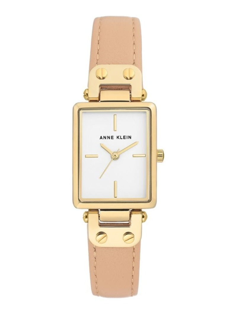 Anne Klein Rectangular Goldtone and Leather-Strap Watch