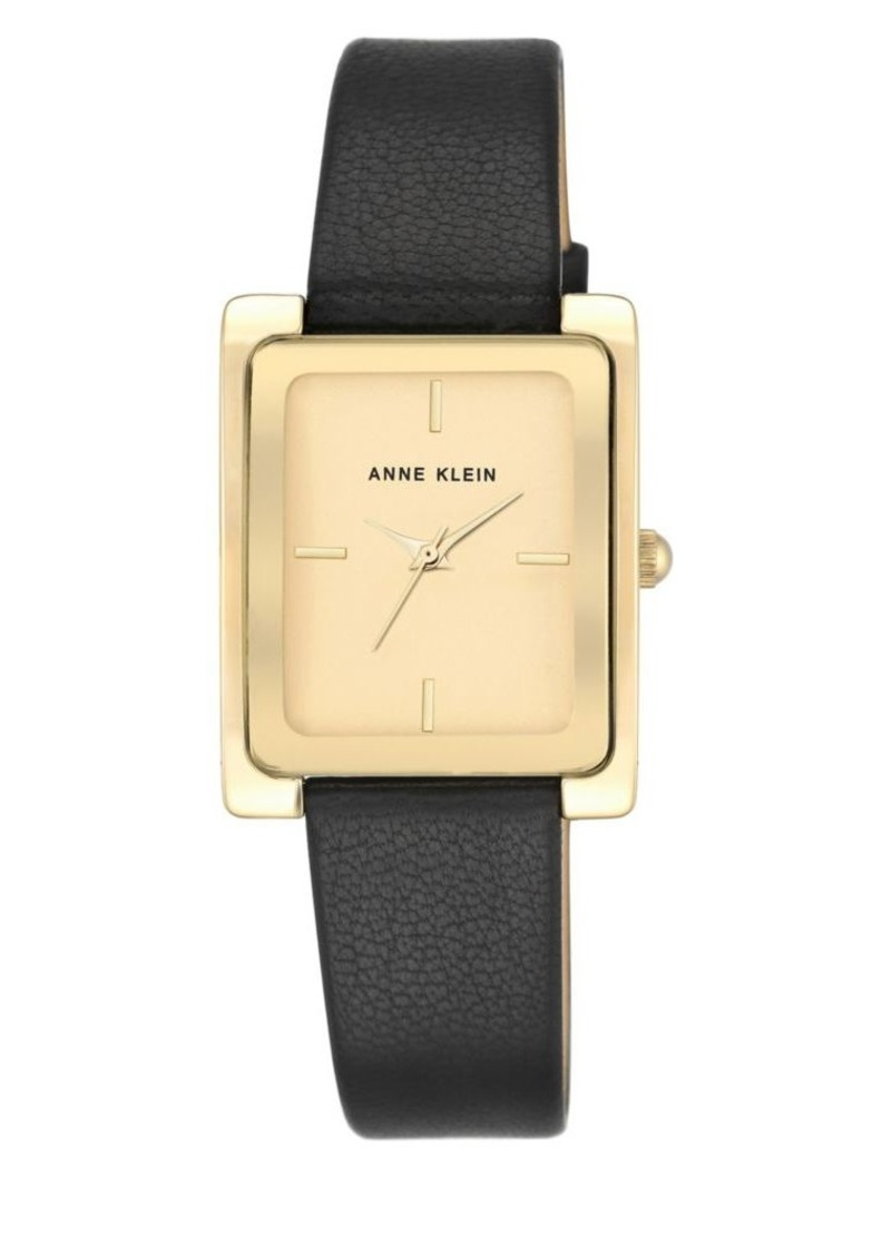 Anne Klein Rectangular Goldtone Case & Black Leather Strap Watch