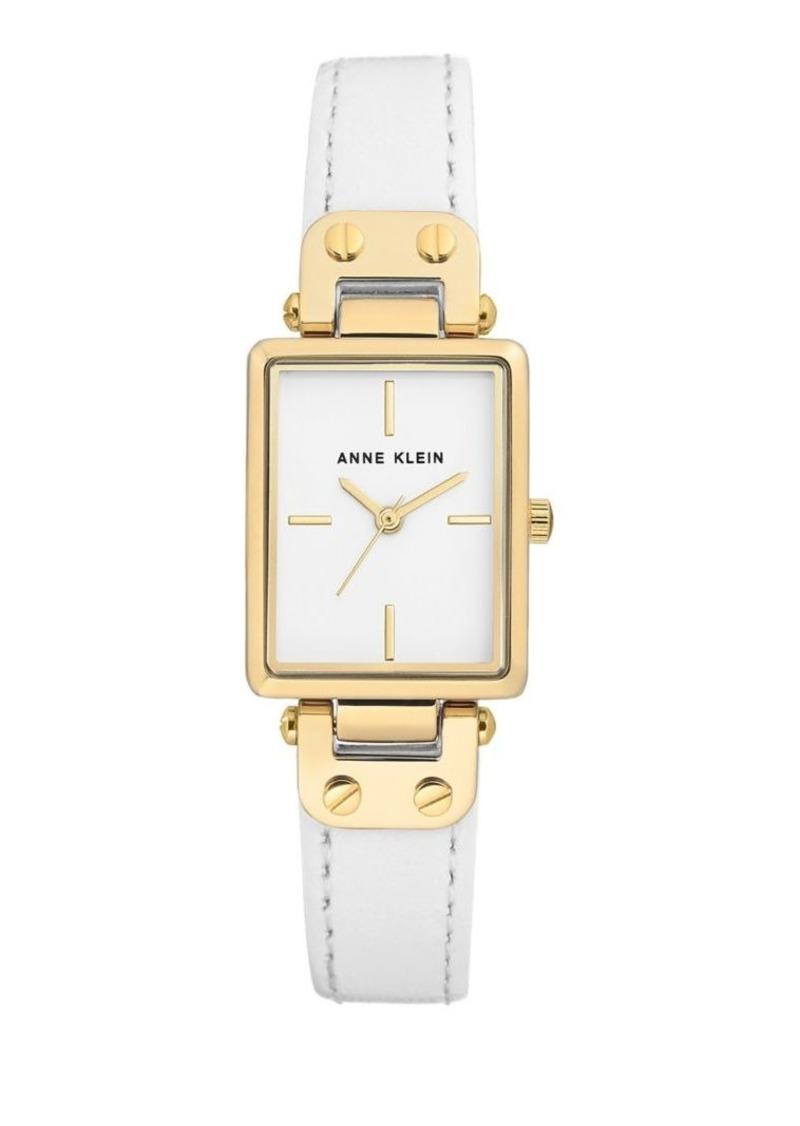 Anne Klein Rectangular Leather-Strap Watch