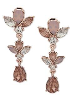 Anne Klein Rose Gold-Tone Crystal Flower E-z Comfort Clip-On Linear Drop Earrings