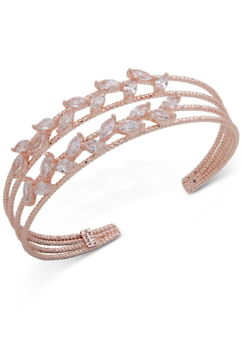 Anne Klein Rose Gold-Tone Crystal Multi-Row Cuff Bracelet