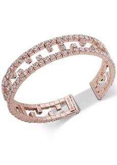 Anne Klein Rose Gold-Tone Crystal Openwork Cuff Bracelet