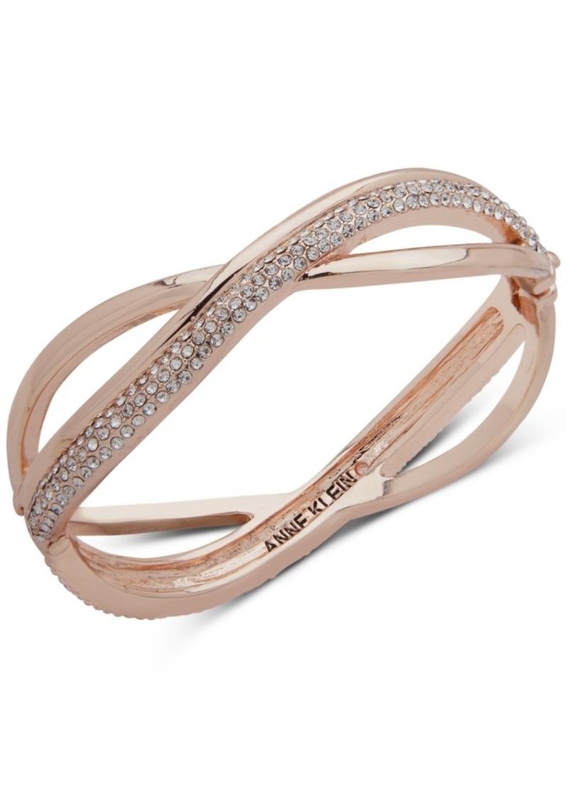 Rose Gold Tone Pave Overlap Bangle Bracelet Created For Macy S