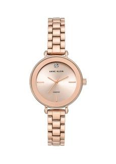 Anne Klein Rose Goldtone & Diamond Bracelet Watch