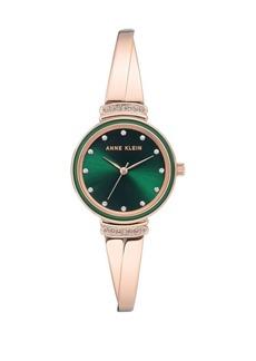 Anne Klein Rose Goldtone and Green Swarovski Crystal Bracelet Watch
