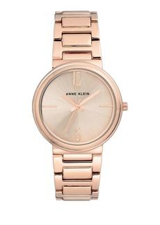 Anne Klein Round Rose Goldtone Bracelet Watch