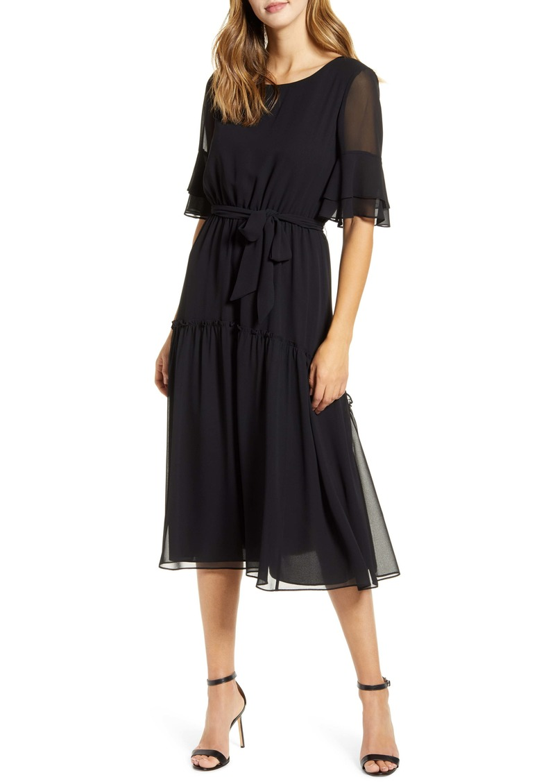 Anne Klein Ruffle Detail Chiffon Dress