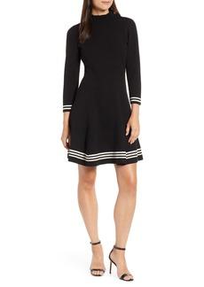 Anne Klein Ruffle Mock Neck Fit & Flare Dress