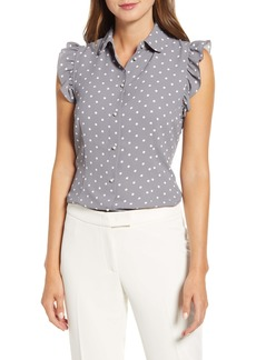 Anne Klein Ruffle Sleeve Dot Blouse