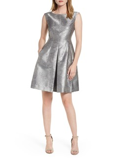 Anne Klein Satin Jacquard Fit & Flare Dress