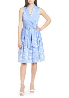 Anne Klein Scattered Dot Tie Front Dress