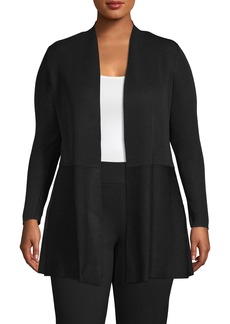 Anne Klein Seamed Open Front Cardigan (Plus Size)