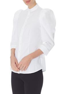 Anne Klein Seersucker Puff Shoulder Shirt