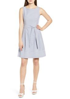 Anne Klein Seersucker Sleeveless Fit & Flare Dress