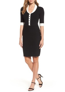 Anne Klein Shawl Collar Knit Sheath Dress