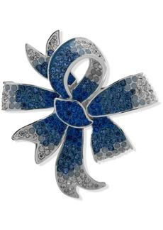 Anne Klein Silver-Tone Blue Stone Bow Boxed Pin
