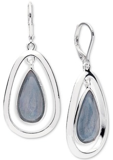 Anne Klein Silver-Tone Colored Imitation Mother-of-Pearl Drop Earrings